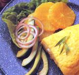 brunch menu  omelet with orange slices