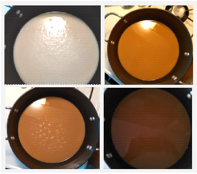 Image of how roux changes color, light to dark