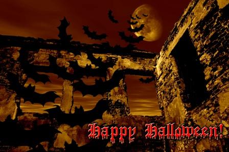 Halloween bats moon