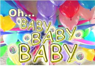 colorful balloons with words say oh baby