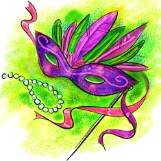 Drawing of a purple Mardi Gras mask
