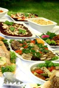 outdoor party buffet