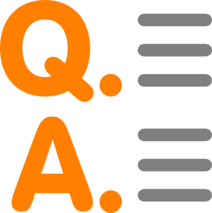 The letters Q and A to represent questions and answers below the image