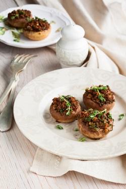 stuffed mushrooms on a plate