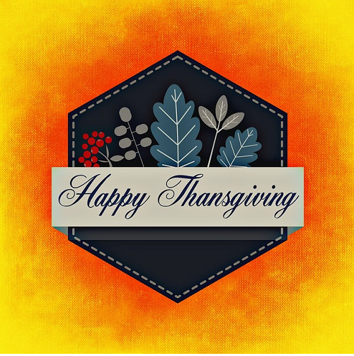 Image of a banner which reads Happy Thanksgiving