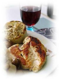 red wine and roasted por