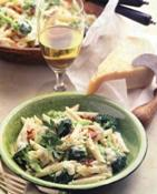 bowl of pasta and glass of white win
